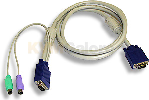 3-in-one KVM cable with pigtail connectors on one end and an integrated